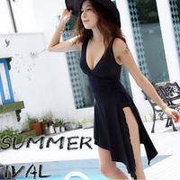 The new popular 2013 Swimwear fork plus size hot spring one-piece dress big women's sexy swimwear swimsuit  Free Shipping
