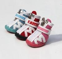 Pompreece zipper breathable gauze pet shoes teddy wellsore shoes dog shoes