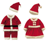 free shipping retail baby's Christmas suit,boy/girl lovely Christmas romper+Christmas hat clothes 2 set