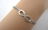 3pcs Simple bracelet, infinity, wax line, woven leather, antique silver, the maid of honor,  1131 Mini order 10$