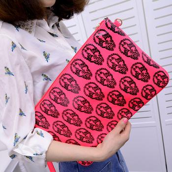Bags 2013 women's handbag summer neon skull envelope day clutch shoulder bag messenger bag