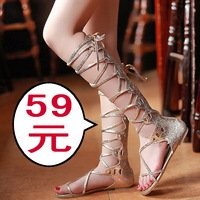 30%off 2013 women's shoes personality casual low-heeled toe-covering flat lacing cool boots cross straps long boots