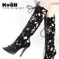 30%off Kvoll summer boots bandage vintage cutout  high-heeled female boots open toe high-leg boots