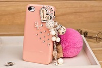 New pink Luxury Diamond love heart Hard Cover Skin case for iPhone 4 4S 4GS  free shipping