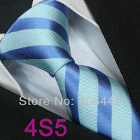 Coachella Men's ties 100% Pure Silk Tie Turquoise With Blue Stripes Woven Necktie Formal Neck Tie for Men dress shirts Wedding