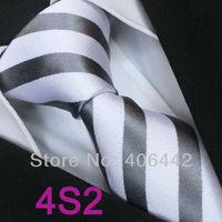 Coachella Men's ties 100% Pure Silk Tie White With Gray Stripes Woven Necktie Formal Neck Tie for Men dress shirts Wedding