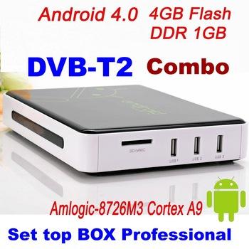 2013   Free Shipping DVB T2  Android 4.0 TV BOX Google TV Box IPTV reciever T tuner  WiFi HD 1080P ARM Cortex A9