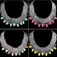 Free Shipping! Hot-sale! Latest Exaggerated Metal Multi-layer Chain Clavicle Necklaces Jewelry For Women 2013 N394