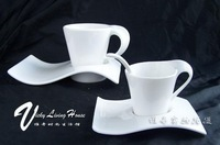 High quality - [Love Song] creative small waves white coffee cup and saucer