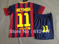 Barca  Home Kids Soccer Kits 2013/14 ,Neymar  Home Child soccer uniform.Kids Soccer Uniform,size 16-28