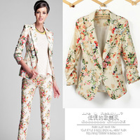 2013 Autumn One Button Three Quarter Sleeve Floral Printed Slim Fit Suit Women Fashion Sliming Casual Blazer Coat