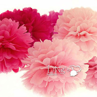 Free Shipping 60 pcs  8inch (20cm )Tissue Paper Pom Poms Wedding Party Decor mix  Craft Paper Flower For Wedding Decoration