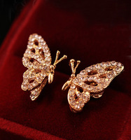 Wholesale Fashion Korean Jewelry Full Crystal Gold Plated Butterfly Earrings Of Luxury SE297