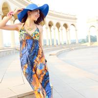 2013 bohemia full dress spaghetti strap sexy one-piece dress fashion female beach dress