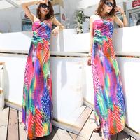 2013 fashion new arrival hot-selling women's bohemia full dress neon leopard print spaghetti strap plus size beach dress