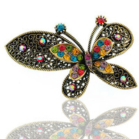 Hair accessory vintage butterfly rhinestone hair accessory hair pin clip hair pin big hairpin