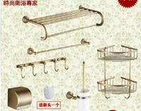 Free shipping antique vintage golden copper double storage shelves towel bar towel shelf tissue holder brush basket