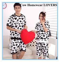 Free Shipping Hot Selling Summer Lover's Short Sleeve Cool Cow Homewear Sets Men& Women Knitted T Shirt Short Sleeve Short Pants