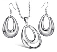 Wholesale\Retail! Fashion Jewelry Sets Stainless Steel Silver Pendant Neklace/Earrings For Women Girl, Lowest Price Best Quality