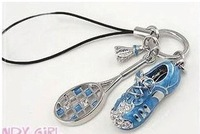 MixedLot $14 Free shipping Fashion blue badminton mobile phone chain small accessories