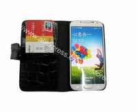1000pcs/lot  Crocodile Pattern PU Leather Wallet Case Cover W/ Stand Card Slot For Samsung Galaxy S4 i9500