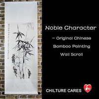 Free Shipping! Original Noble Large Original Chinese Bamboo Painting Wall Scroll, Bamoo Silk Scroll Hanging