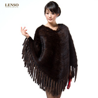 2014 Newest Women's Fashion Real Knitted Mink Fur Pullover with Tassels Poncho Female Wraps Lady Outerwear Coats VK0715