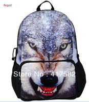 "New 17"" School Bags For Teenage Unisex Animal Wolf Printing Backpack Bag BBP109"