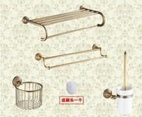 Free shipping antique vintage golden copper double towel shelves towel bar towel shelf tissue basket brush basket bath kit