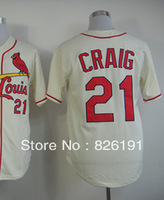 Free shipping St. Louis #21 Allen Craig Cream jersey, Embroidery &Sewing logos men's baseball jerseys,can mix order.