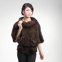 Newest Genuine Real Knitted Mink Fur Pullover Women Warm Winter Outerwear with Half Sleeve Female Clothing