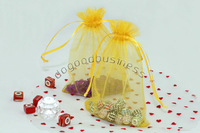 100pcs orange Sheer Organza Jewelry Gift Pouch Bags Free Shipping