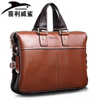 2013 new authentic leather casual fashion brand portable computer document header layer of leather man bag square cross-section
