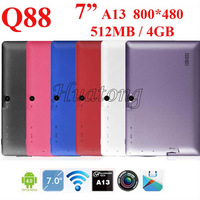 "Free shipping cheap 2 pics/lot 7"" Allwinner A13 Q88 tablet pc android 4.0 1.2GHz RAM DDR3 512MB ROM 4GB"