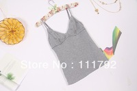 Free shipping 2013 summer trade cotton modal sexy female halter straps V-neck stitching bottoming shirt embroidered camisole