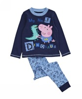 hot sale 1set retail 100% cotton dinosaur peppa pig children clothing sets shij062