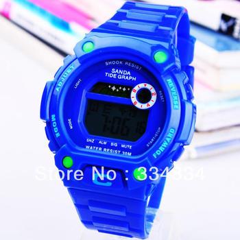 Freeof shipping Fashion Multifunction Sport Diving Watch Digital Sport Watches Boy Watch Band Silicone Waterproof Watch Luminous