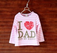 hot sale 1pcs retail 5/6/7 100% cotton i love dad pink striped girls t shirts shij063
