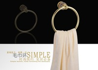 Free shipping luxury golden aluminum and granite towel ring shower caddy bath accessories polish surface  vintage style