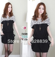 Casual popular skull print patchwork short sleeve pockets women cotton dress