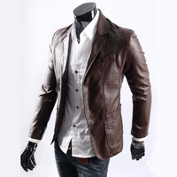 Free shipping 2013 men suit leather jacket blazer slim fashion PU leather outerwear M-4XL