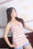 Free shipping Summer fashion women v-neck modal vest.lace and striped for foreign trade,100% in-kind shooting.