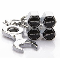 Mercedes Benz AMG Tire Valve Caps with Wrench Keychain