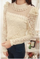 2013 spring pearl beading neckline lace gauze t shirt for women long-sleeve blouses women wholesale free shipping