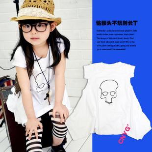 Children's clothing girls child summer 2013 wardrobe skull pattern personality design short sleeve long length dress t-shirt