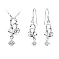 Shine Crystal Heart Design Cheap Fashion Wedding Jewelry Set Silver 925 Women Free Shipping