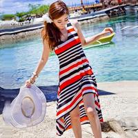 2013 female stripe full dress beach skirt dress spaghetti strap beach wear viscose fabric 501