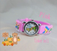 Drop shipping 1PCS pink color NEW Cartoon 3D Children Watch kids watch TinkerBell wristwatch XMAS GIFT