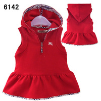 Hot , retails 100%cotton girls autumn vests  hoodies cute dress  brand clothing for girls children's coat