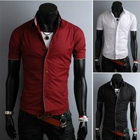 free shipping Summer 2013 new men's Korean self-cultivation hit Plaid short-sleeved shirt high quality 3color M-XXLsize